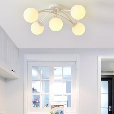 Contemporary Orb Semi-Flush Ceiling Light 5 Light Metal Flush Mount Light in Black/White for Bedroom