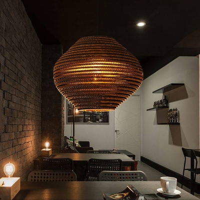 Corrugated Paper Pendant Asian Style Carton Paper 1-Light Hanging Light Fixtures for Coffee Shop