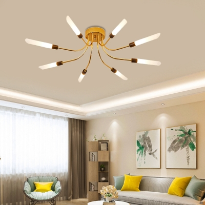 Cylinder Pipe Bedroom Semi-Flush Ceiling Light Metal 6/8 Light Modern Ceiling Light in Gold