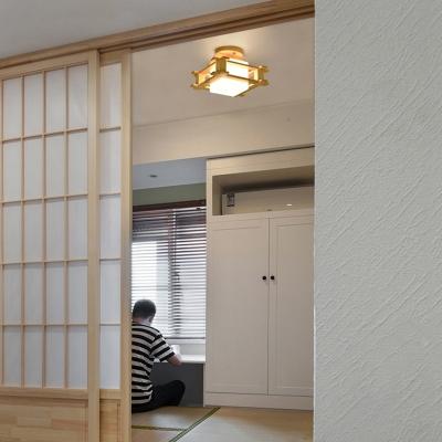 Living Room Square Semi Flush Ceiling Light Wood 1-Light Modern Ceiling Light Fixture
