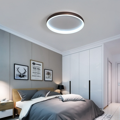 Metal Ring Flush Mount Ceiling Fixture Nordic Style LED Flushmount Light in Black/Brown/White