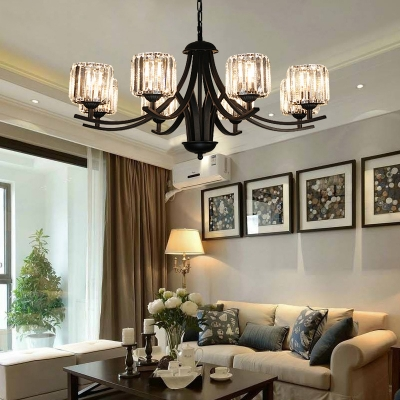 Modern Chandelier Light Fixture Living Room Crystal Chandelier with Black Arms