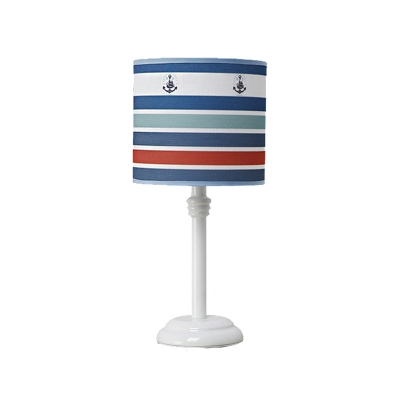 Multi-Colored Cylinder Accent Lamp Nautical Iron and Wood 1 Light Desk & Table Lamps for Childern Bedroom