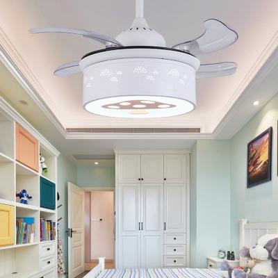 Mushroom Ceiling Fixture Modern Acrylic Metal 1-Light Round Fan Light for Living Room Bedroom Kids Room