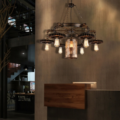 Open Bulb Pendant Chandelier Retro Style Metal Gear Hanging Light Fixtures with Center Cylindrical Shade for Dining Room