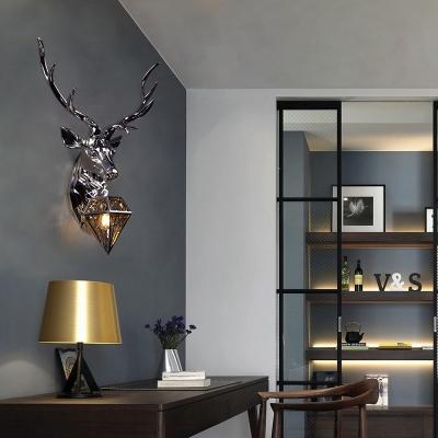 Post Modern Deer Wall Lighting with Diamond Lampshade Resin 1 Light Porch Wall Mount Light