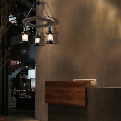 Satin Black Lantern Pendant Lamps Mediterranean Wood and Metal Ceiling Pendant Light for Restaurant