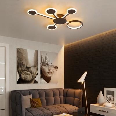 Sputnik Flush Mount Ceiling Light Post Modern Metallic Led Flush Lighting in Brown