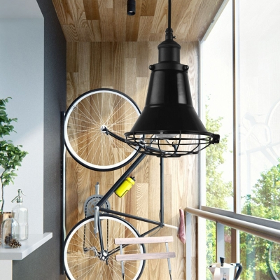Vintage Industrial Bell Ceiling Lights 1-Light Pendant Ceiling Light with Metal Cage Shade for Study, HL559548, Black;blue;white;purple;yellow