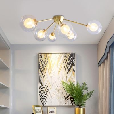 3/6 Light Globe Shade Ceiling Light Modern Glass Semi Flush Mount in Amber/Clear/Smoke for Bedroom