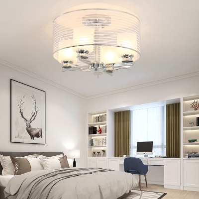 4 Light Cylinder Shade Flush Mount Ceiling Light Modern Glass Ceiling Light in White for Living Room