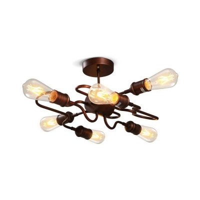 6 Bulbs Twister Ceiling Chandelier Industrial Metal Open Bulb Ceiling Light Fixtures over Kitchen