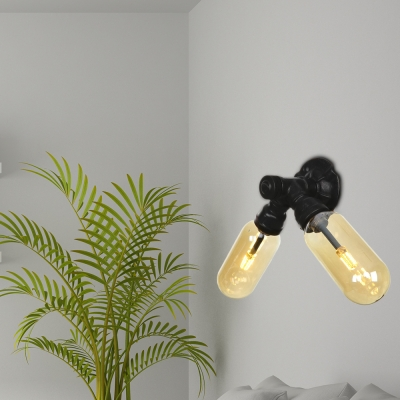Amber Sconce Wall Lights Antique Metal and Glass 2 Bulbs Sconce Lights with Switch for Foyer