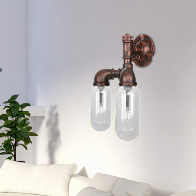 Antique Clear Glass Sconce Lighting Fixtures Metal Pipe Sconce Lights with Switch for Foyer