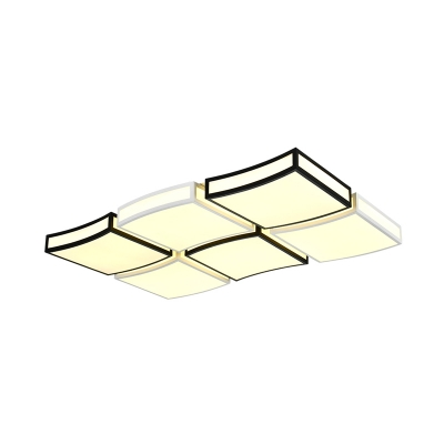 Black and White Wavy Flush Mount Lighting LED Modern Acrylic Ceiling Lamp for Living Room