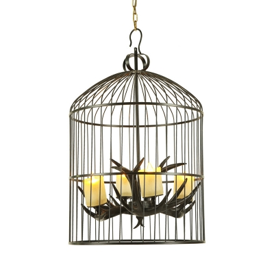 Black Bird Cage Hanging Lamp with Candle and Antlers 4 Lights Resin Chandelier for Porch Restaurant