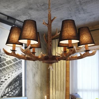 Black Fabric Shade Cone Hanging Light with Antler Loft Style 6 Light Pendant Lighting