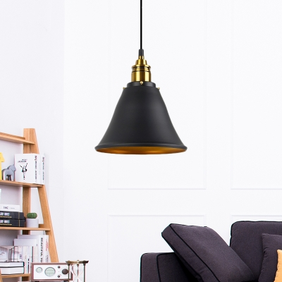 Cone Pendant Light Loft Industrial Iron 1 Head Hanging Light Kit over Kitchen Island, HL559343, Black;gold;white