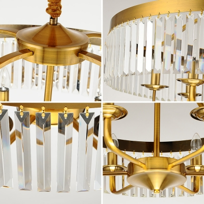 Contemporary Crystal Large Hanging Lights Metal 6 Heads Pendant Chandelier for Living Room