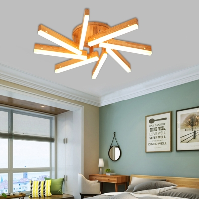 Contemporary Linear Semi Flush 5/8 Light Wood Ceiling Light in White/Warm Light for Bedroom