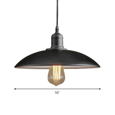 Domed Hanging Ceiling Fixtures Antiqued Steel Single-Bulb Pendant Lights for Bedroom