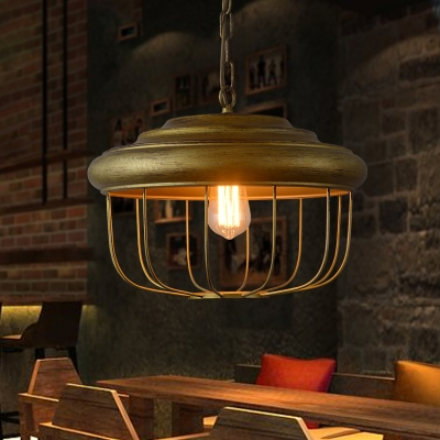 Drum Cage Hung Pendant Rustic Metal 1-Light Hanging Pendant Light with Chain in Antique Brass, HL559290
