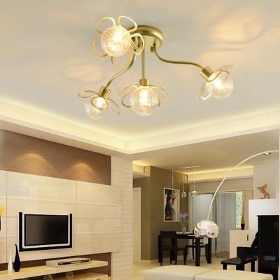 Flower Bedroom Semi Flush Mount Ceiling Fixture Glass 4/6 Light Modern Ceiling Light in Black/Gold