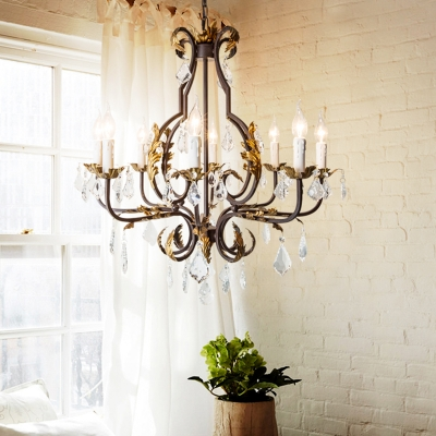 French Style Chandelier Light with Candle Metal Multi Light Pendant with Clear Crystal