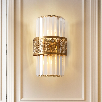 Leaf Pattern Wall Lights Mid Century Crystal Metal 2 Light Sconce Wall Lighting for Bedroom