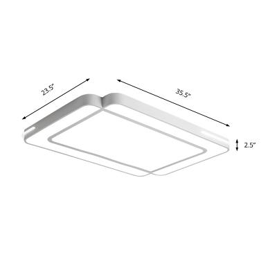 Led Rectangle Flush Mount Lighting Modern Simple Metal Ceiling Flush Light for Living Room