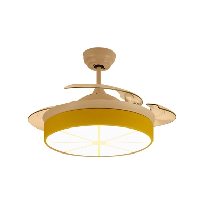 Lemon 1 Light Fan Light Acrylic And Metal Kids Room Ceiling Fan With Retractable Blades Beautifulhalo Com