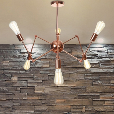 Metal Spider Shape Hanging Lamp Multi-head Modern Chandelier in Rose Gold for Cafe