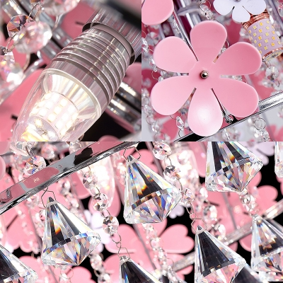 Pink Flower Ceiling Fixture Contemporary Crystal Round Ceiling Light Fixture for Girls Room Bedroom