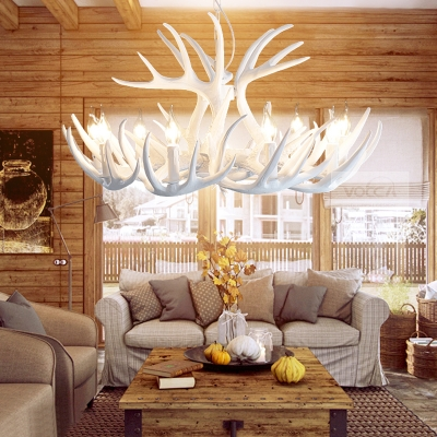Resin Deer Horn Suspension Light with Candle Dining Room Country Style Chandelier in White