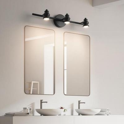 Rotatable Black Linear Mirror Headlights, Nordic Style Iron 2/3/4 Light Wall Sconce Light