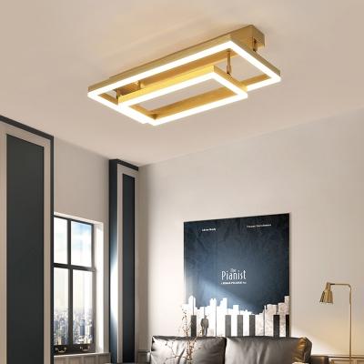 2/3/4/5 Tier Rectangular Semi Flush Mount Modern Metal Ceiling Light in Gold for Bedroom