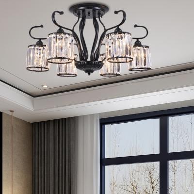 3/6 Light Cylinder Ceiling Chandelier Modern Crystal Fringe Bedroom