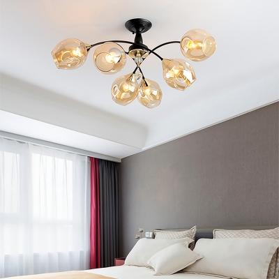 Amber/Blue Curved Semi Flush Mount 3/6 Light Modern Glass Ceiling Light for Living Room