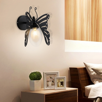 Black Butterfly Wall Mounted Lights Contemporary Iron 1 Head Wall Hanging Lights for Bedside, HL560807
