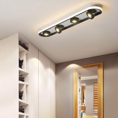 Black Disk Ceiling Flush Light Modernism Rotatable Led Spotlight for Living Room