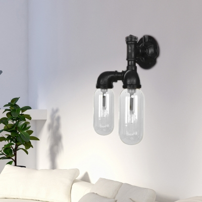 Black Pipe Sconce Lighting Fixtures Antique Iron and Glass 2 Lights Sconce Lamp for Corridor