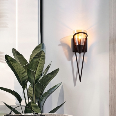 Black Wall Mounted Light Modern Metal 1 Light Wall Sconce Lighting with Glass Cone Shade for Foyer, HL561404