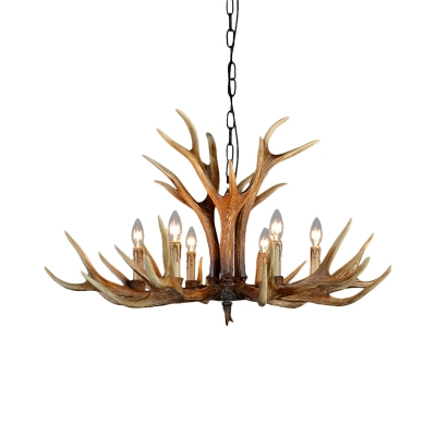 Country Style Antler Chandelier with Candle Resin Multi Light Hanging Pendant Light