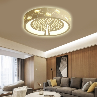 Crystal Accent Drum Shade Flush Mount Light Bedroom Nordic Style Acrylic Ceiling Lamp in White