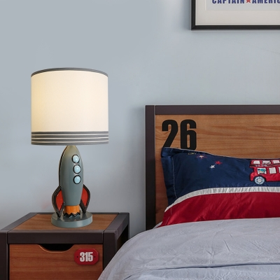 Cylindrical Accent Lamp Contemporary Resin and Fabric 1 Light Rocket Desk Lamp for Bedside