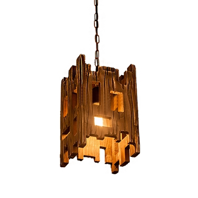 Distressed Wood Pendant Lamps Lodge 2 Light Square Chain Hung Pendant for Restaurant Bar