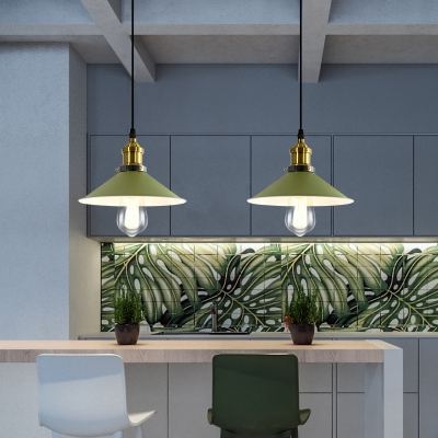 Flared Hanging Light Fixtures Industrial Retro Iron 1 Light Pendant Lighting in Brass Finish, HL559417, Green;gray