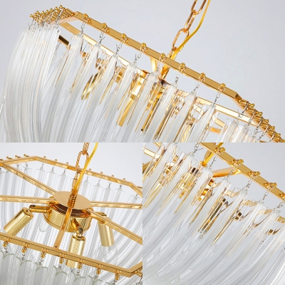 Gold Shaded Hanging Pendant Lights Modern Crystal 6 Light Pendant Lights with Chain for Living Room