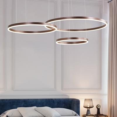 Integrated Led Loop Chandelier Lamp Minimalism Metal Ceiling Pendant with Adjustable Cord