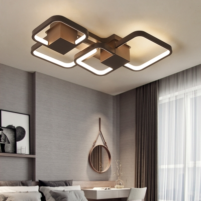 Led Geometric Flush Mount Ceiling Light Metal Modern Decorative Flush Lighting In Brown Beautifulhalo Com